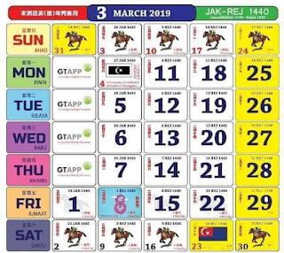 Kalendar Mac 2019