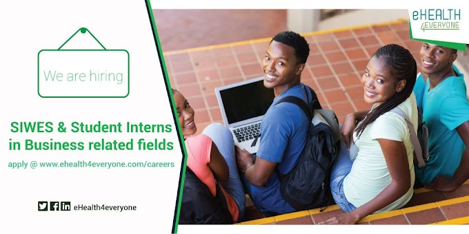 EHEALTH4EVERYONE SIWES AND STUDENT INTERNS IN BUSINESS RELATED FIELDS 2018