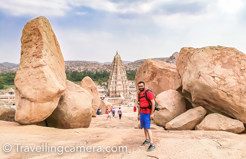 After visiting Iskon temple in Bengaluru, Mysore Palace, Wildlife safaris in Kabini (saw 1 tiger and 2 leopards), Srirangapatnam, Hassan, Bellur Temples, Halebid temple & Shravanabelagola, it was time to explore Hampi. Hampi is 3rd target heritage site in the world, which can't be explored in a day but idea was to get familiar with the place and plan next trip for at least a week. Everyone on Golden Chariot was excited to explore Hampi, as it's one of the most popular tourist destinations in south India and specifically in Karnataka state.
