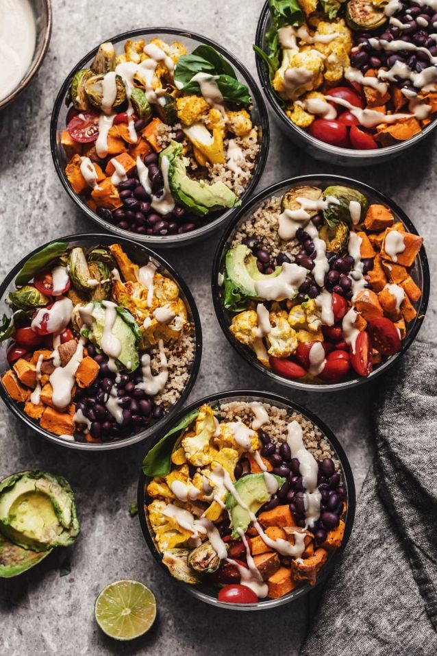 The Roasted Vegetable Quinoa Buddha Bowls are easy to assemble Need more recipes? Find 25 Super Healthy Vegan Dinner Recipes for Weeknights. recipes vegan dinner | delicious vegan dinners | dinner recipes vegan #healthyeating #cleaneating #veganfood #veganism