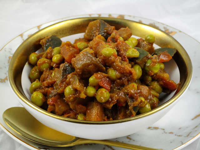 Eggplant and Green Pea Curry
