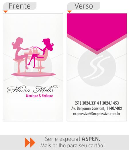 cartao de visita manicure rosa - Cartões de Visita para Manicure e Pedicure