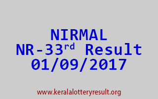 NIRMAL Lottery NR 33 Results 1-9-2017