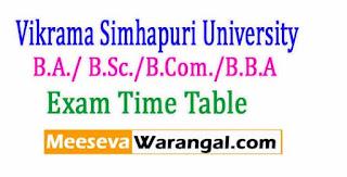Vikrama Simhapuri University B.A./ B.Sc./B.Com./B.B.A 1-1 / 2-3 (Reg/Supply)-CBCS Nov/Dec-2016 Exam Time Table