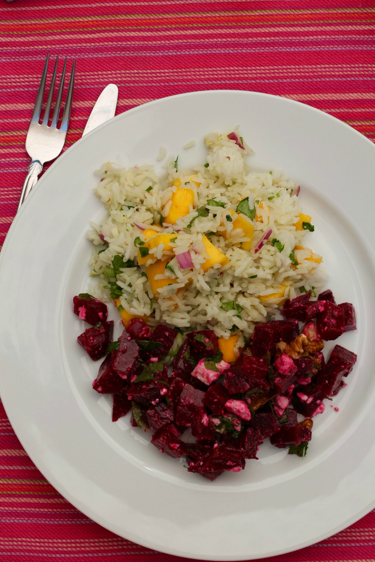 Mango, avocado and rice salad + beets, feta and walnut salad - What I Eat in a Day [Summer Edition]