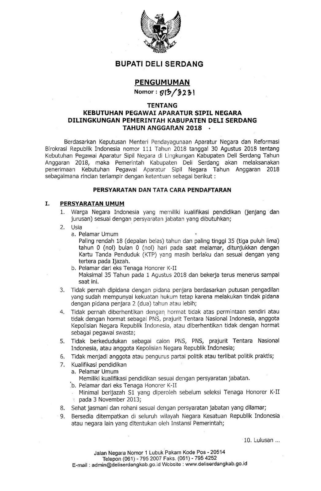 Pengumuman Seleksi CPNS Kabupaten Deli Serdang [750 Formasi] Dominan Tenaga Guru dan Kesehatan