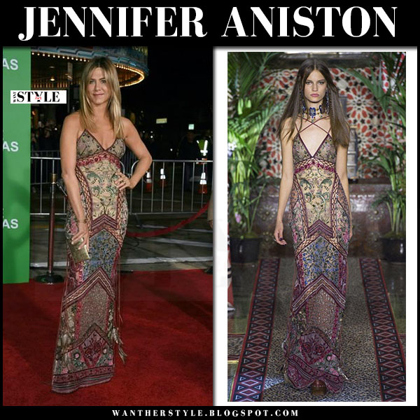 Jennifer Aniston in embroidered gown roberto cavalli what she wore