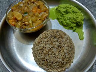 Pearl millet beaten rice, Ash gourd Snake gourd Radish Green gram sprouts curry, Mint Chutney