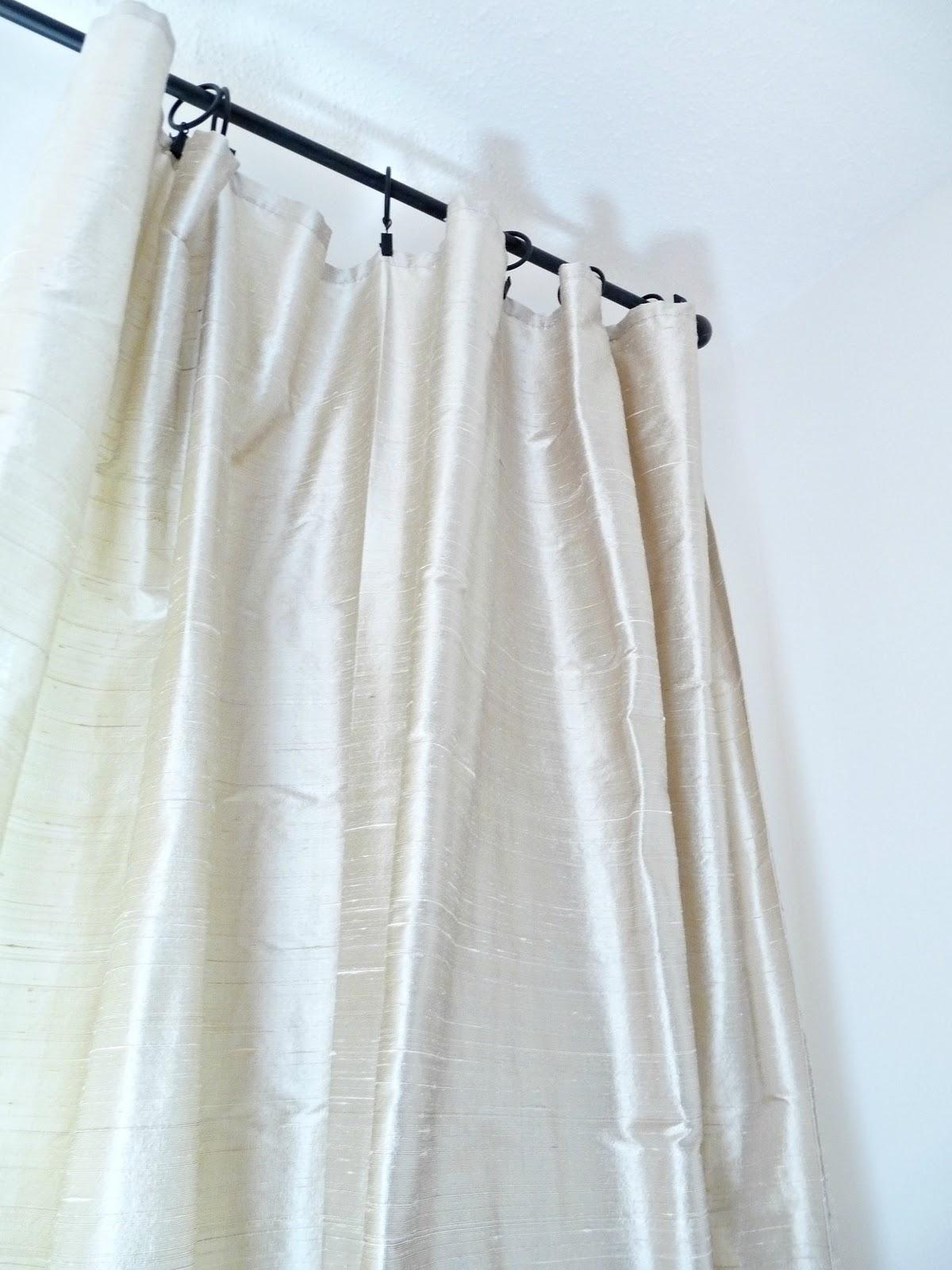Beige silk curtains