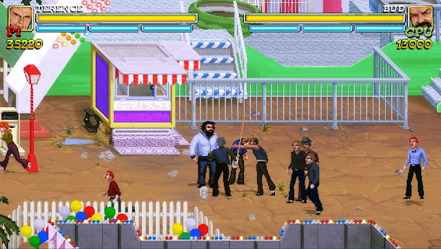 Bud Spencer & Terence Hill - Slaps and Beans -  Bud and Terence fighting at the fair, using cue sticks against enemies!