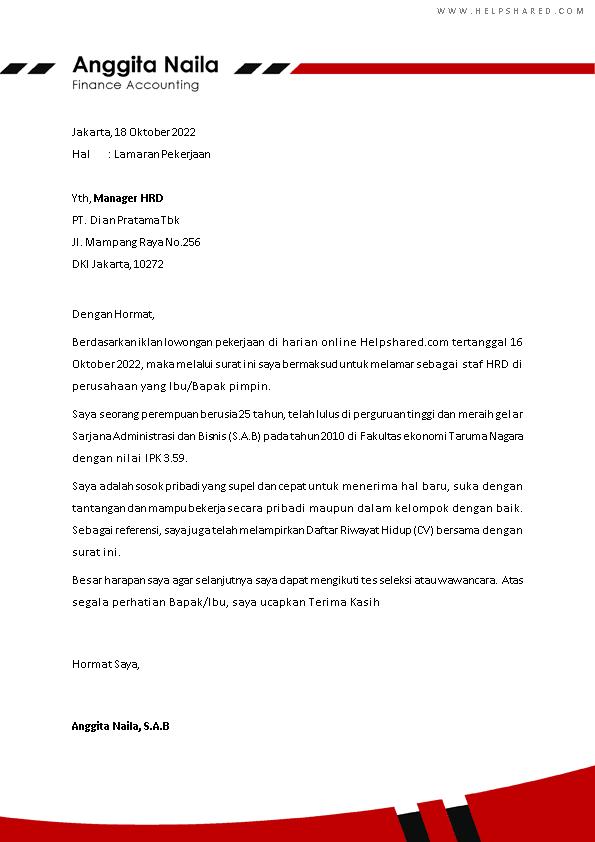 Contoh Surat Lamaran Kerja 9