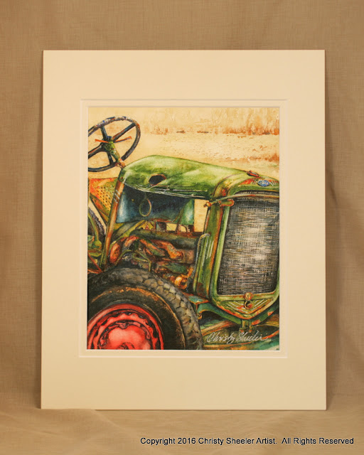 The Vintage Tractor Original Watercolor Painting Copyright 2016 Christy Sheeler Artist. All Rights Reserved.