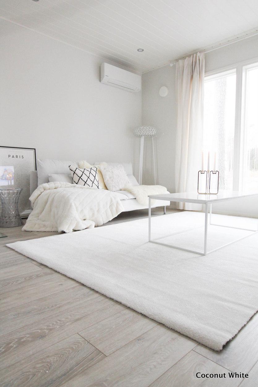 Olohuoneen uusi, valkoinen Hattara matto  Coconut White