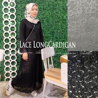 Baju Muslim Outer Panjang Lace Longcardigan Murah 081372507000