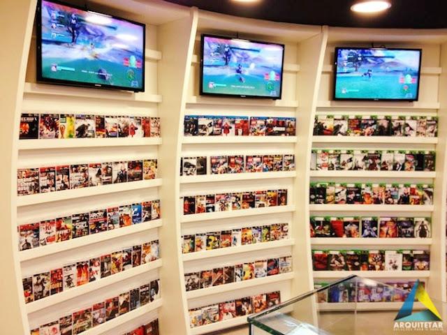 projeto arquitetura loja games brinquedos colecionáveis games display prateleira mobiliário