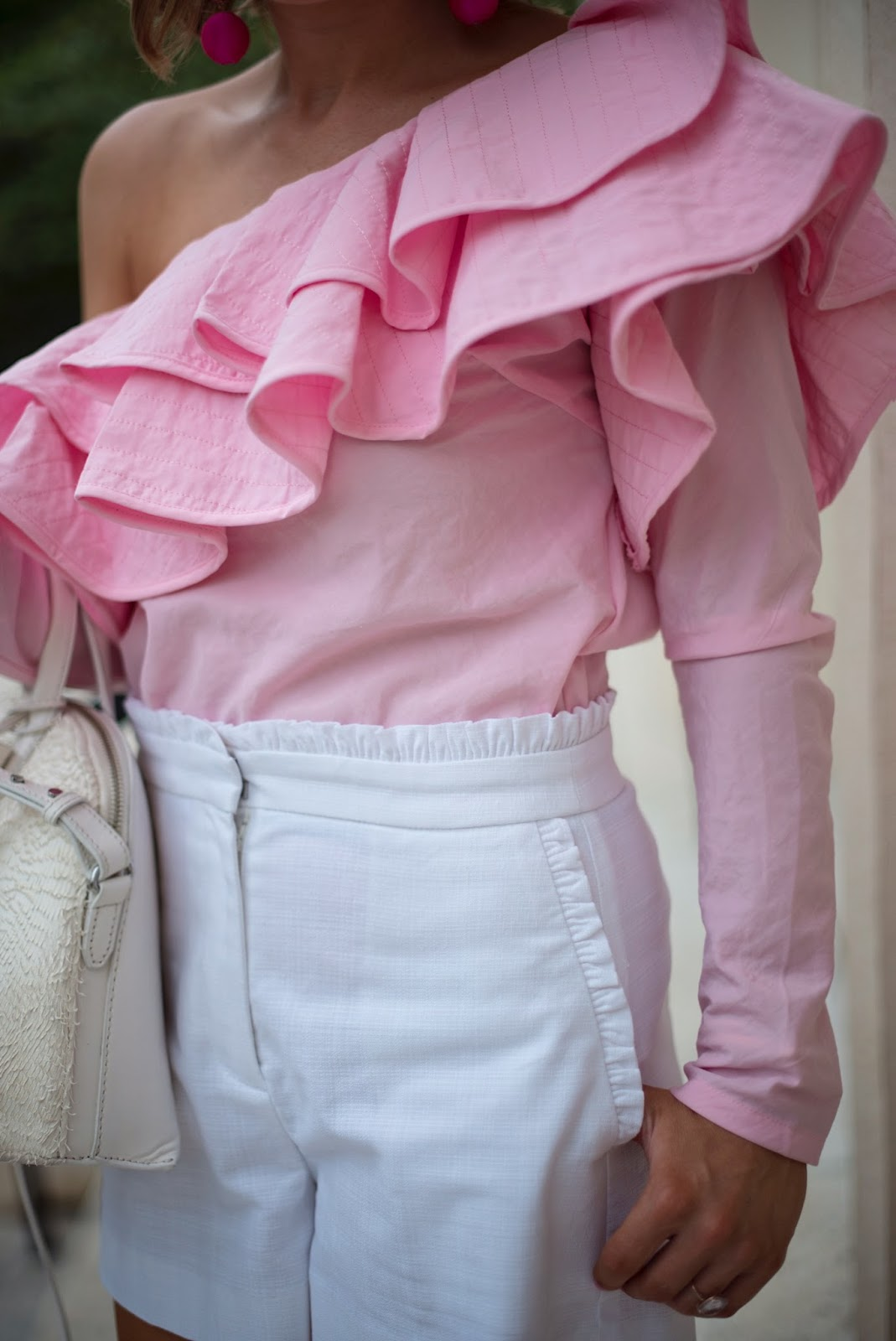 Pink Ruffled Top & J.Crew Ruffled Shorts - Click through to see more on Something Delightful Blog!