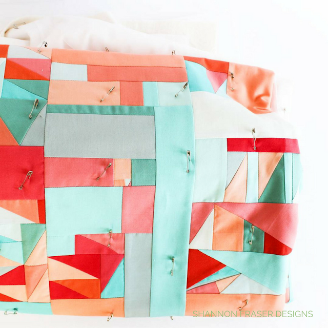 Pin Basted | Modern Improv Quilt | Shannon Fraser Designs | Modern Quilting | Solids Quilt | Kona Cotton | Colorful
