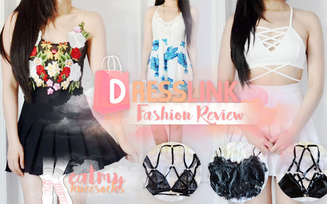The fashion reviews continue today with my latest package from Dresslink, containing a floral embroidered mesh halter top, floral lace romper, white lace-up crop top, strappy lace bralette, lace-trim black bralette, and strappy o-ring bralette. - Eat My Knee Socks / Mimchikimchi