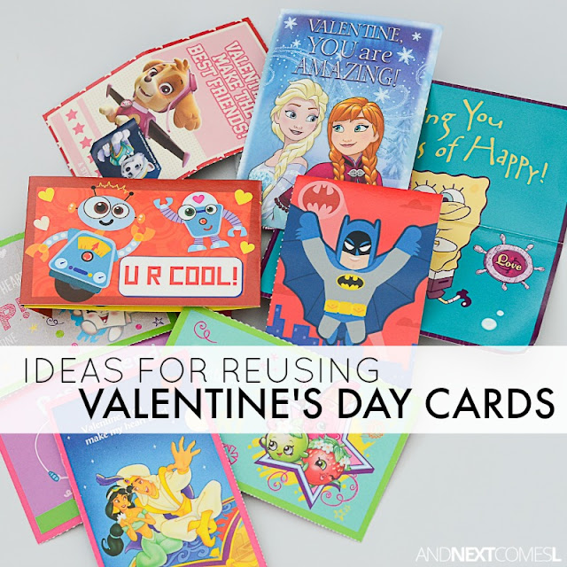 Simple ways to reuse Valentine's Day cards for play and learning from And Next Comes L