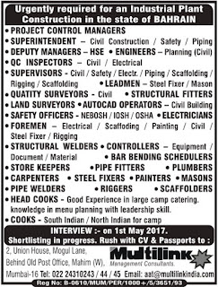 Industrial Plant Construction Jobs in Bahrain