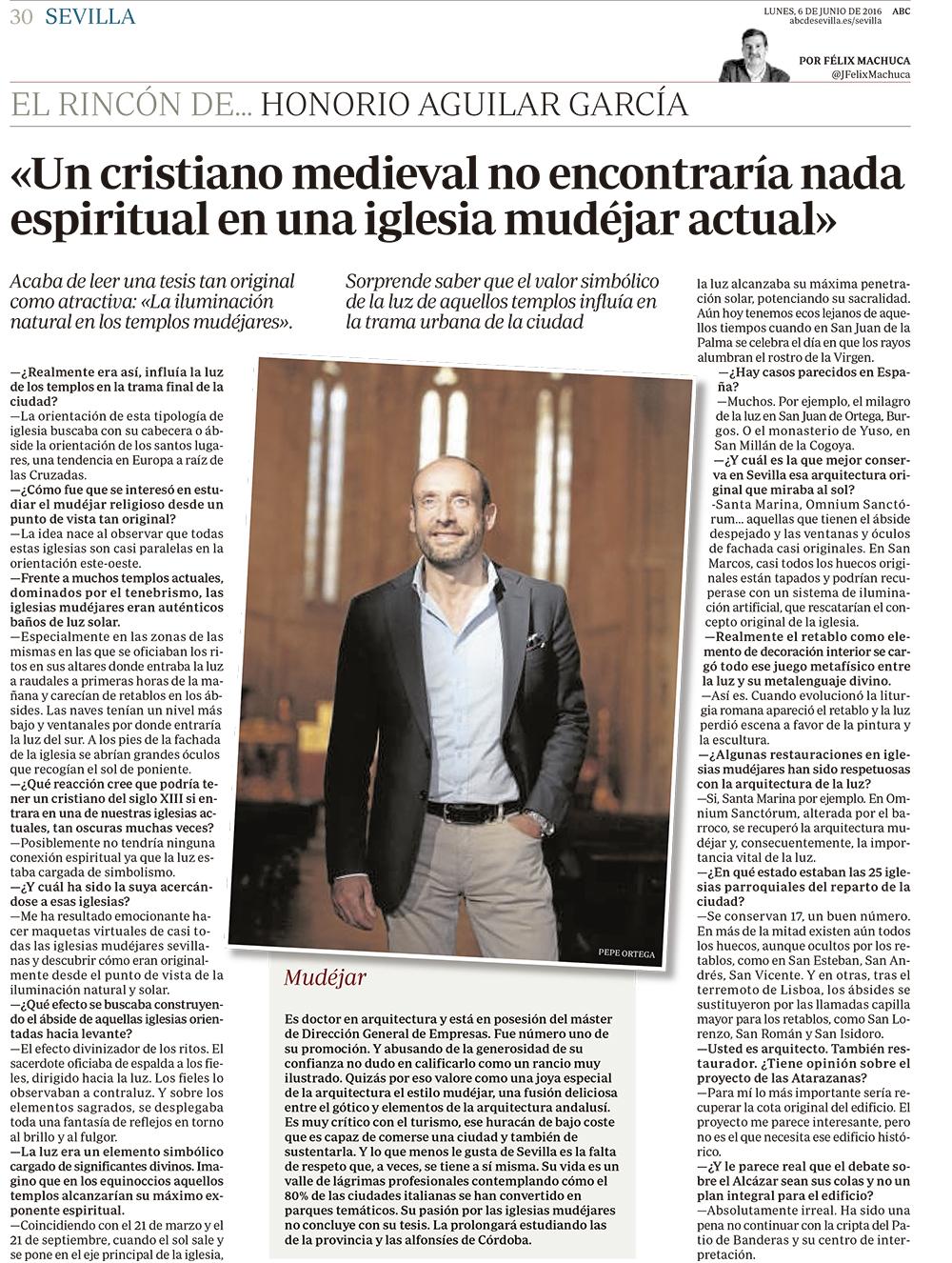 Entrevista a Honorio Aguilar García en ABC de Sevilla