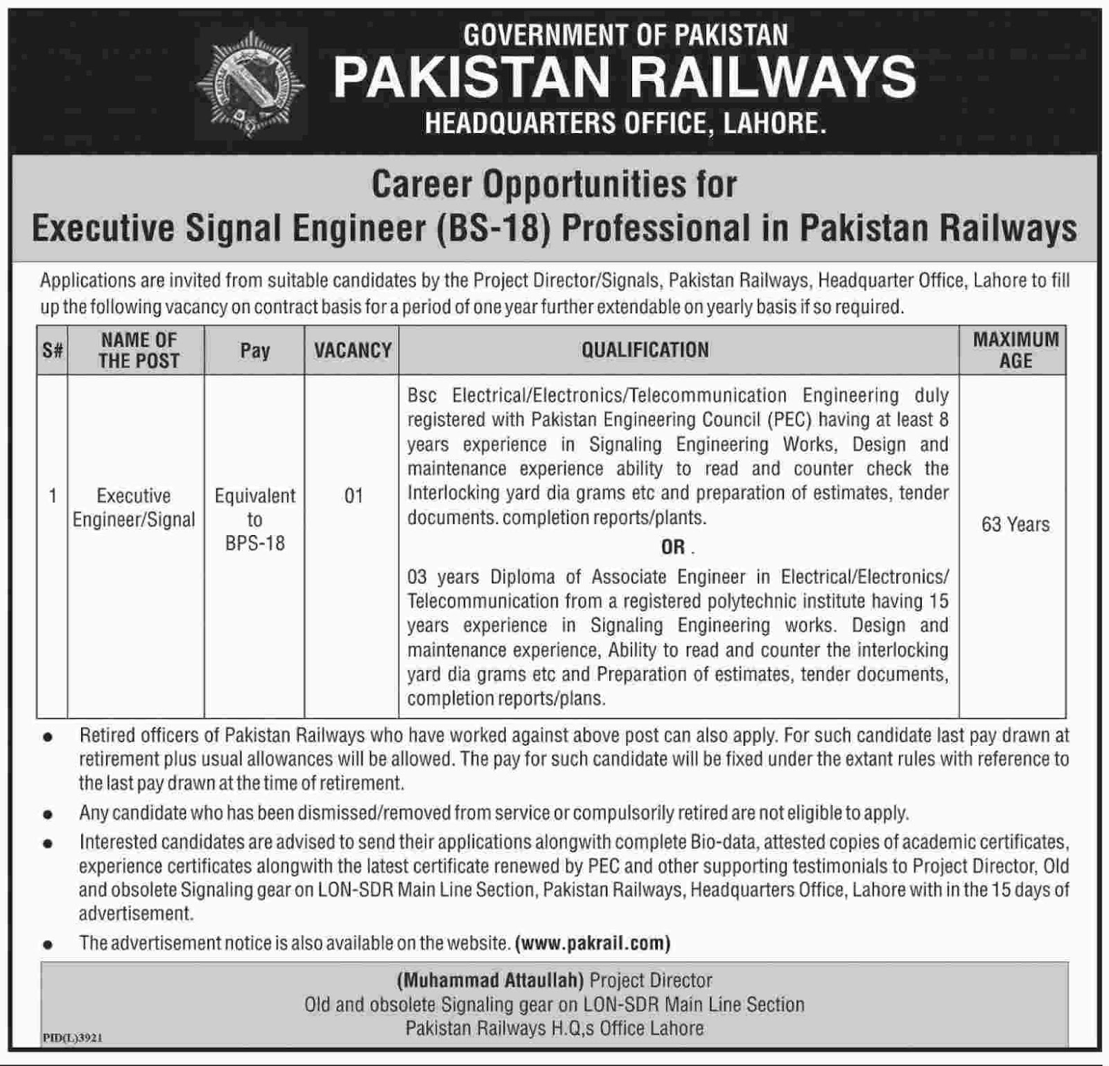Pakistan Railways Headquarter Executive Engineer Jobs 29 Apr 2017