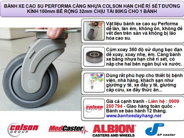 Bánh xe cao su di động Colson phi 100 x 32mm - 4 inch | STO-4856-448 www.banhxepu.net