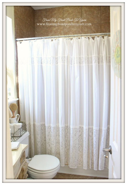 Farmhouse Guest Bathroom-Two Shower Curtains- From My Front Porch To Yours