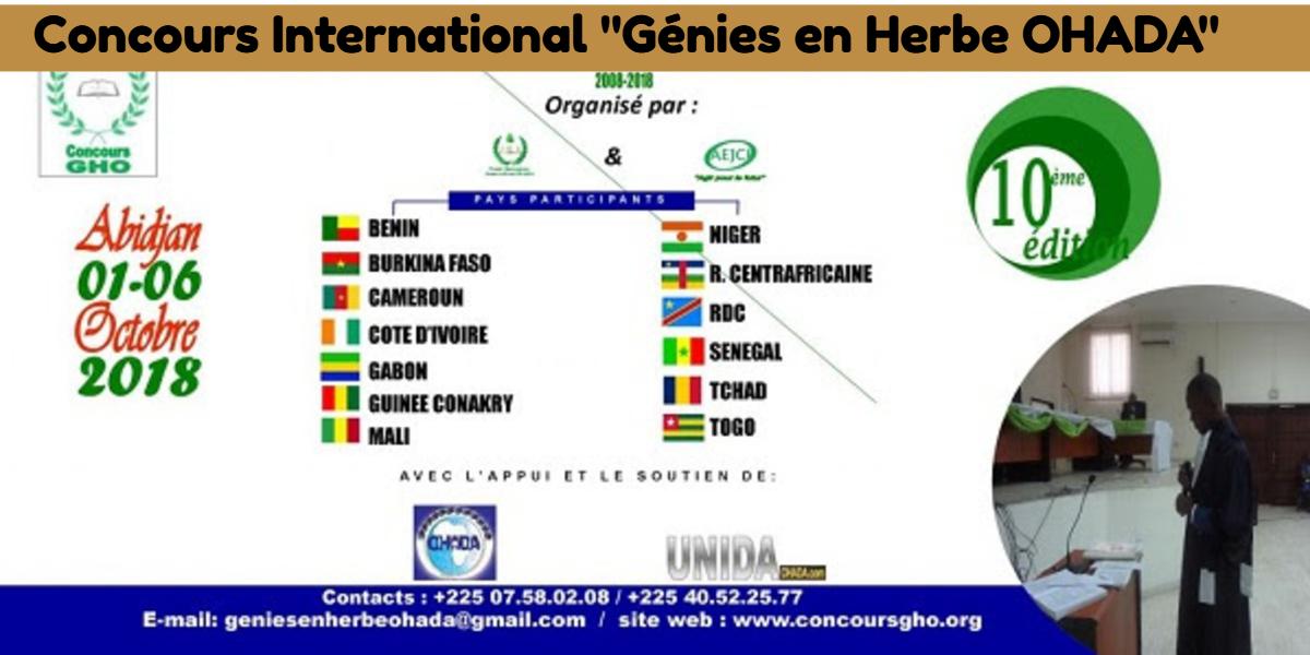 Actualité juridique : Cérémonie officielle de lancement du 10ème Concours International « Génies en Herbe OHADA » à Abidjan.
