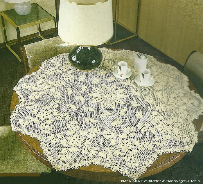 Crochet Tablecloth : Crochet Knitting Handicraft: Tablecloth with crochet flowers.
