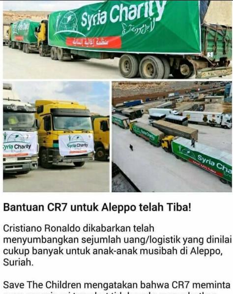 Alhamdulillah.... Bantuan Bintang Sepak Bola CR7 untuk Aleppo Dikabarkan Telah Tiba