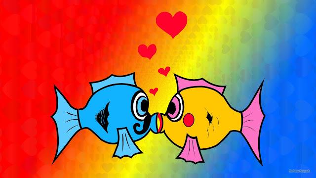 Wallpaper met twee kussende verliefde vissen