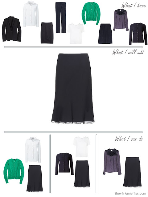 How to add a navy silk skirt to a business capsule wardrobe