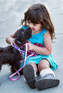 very cute baby girl  playing with dog dp