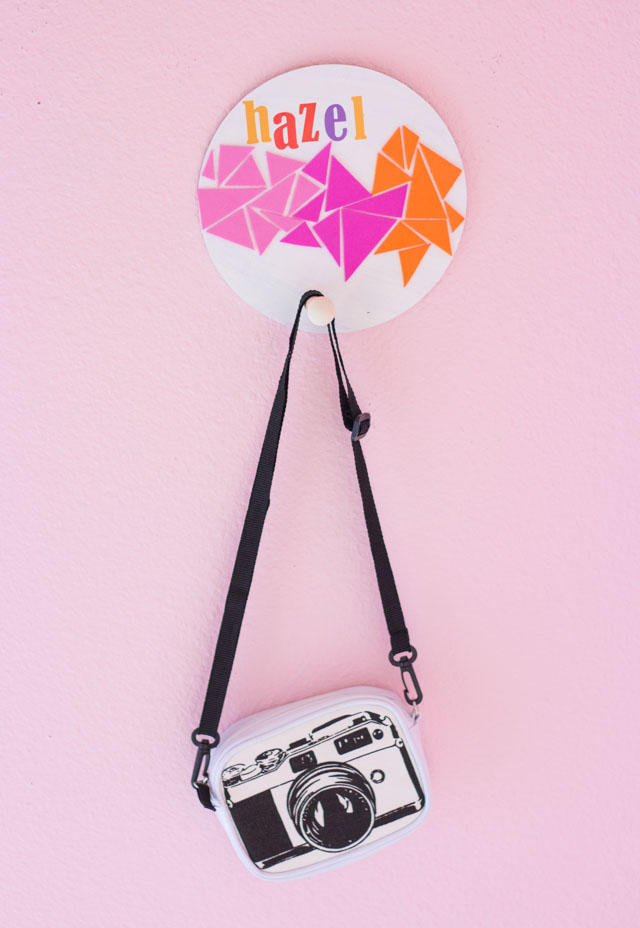 Fresh  their DIY circle wall hangers were the perfect pairing You can personalize these to make one of a kind hooks for backpacks like my pom pom backpack