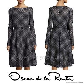 Crown Princess Mary Style Oscar de la Renta Diamond Cutout Plaid Dress