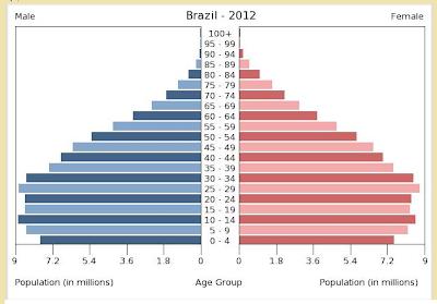 Resultado de imagen de MODELO DE PIRÁMIDE DE POBLACIÓN BRASIL 2010
