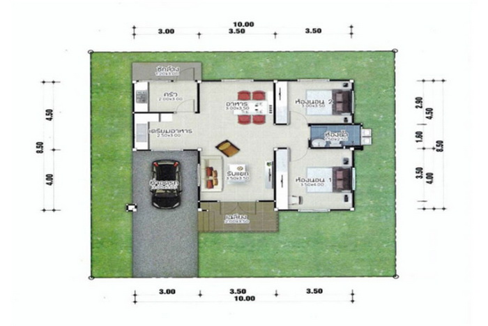 These house plans have 1-3 bedrooms,1-2 bathrooms, dining room/living room, and a kitchen. The usable area is under 120 square meters,  the construction in Thailand will fall to approximately 1.5 million baht or 47,000 in  US dollars. Anyone looking for a small house idea, try to apply this as a guide to it.