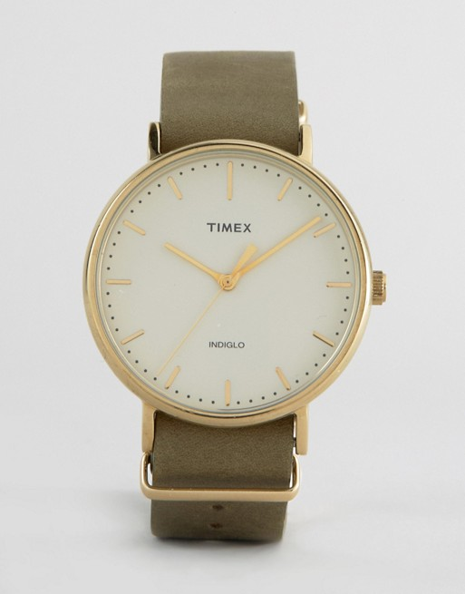 Olive Green Timex Gold & Cream Watch