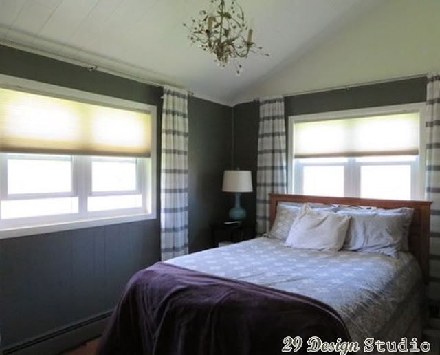 Gray painted Wood Paneling