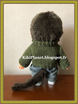pull col châle, tricot, knitting, handmade, fait main, kiki, monchhichi, vintage, poupée