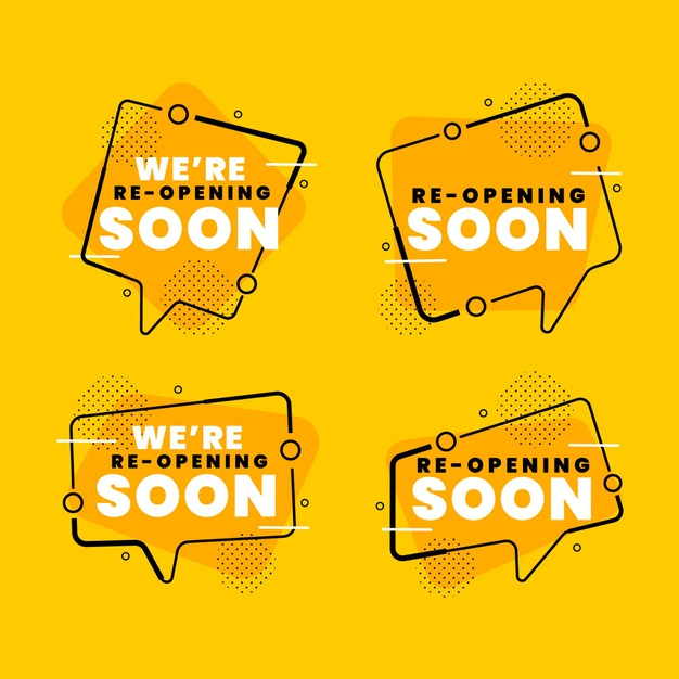 Re-opening soon badges concept Free Vector