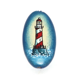 red lighthouse wooden hand painted bead