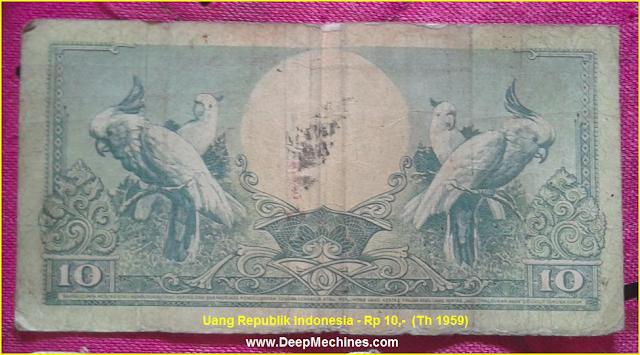 Gambar Koleksi Uang Kertas Langka/ Kuno Indonesia, Nominal Rp 10,- Tahun 1959