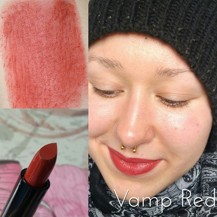 Les rouges à lèvres Max & More Lipstick Swatch Vamp Red