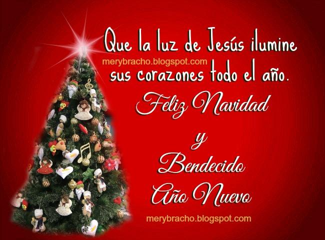 tarjeta navideña con arbolito de navidad, saludo de bendecido año nuevo imagen roja