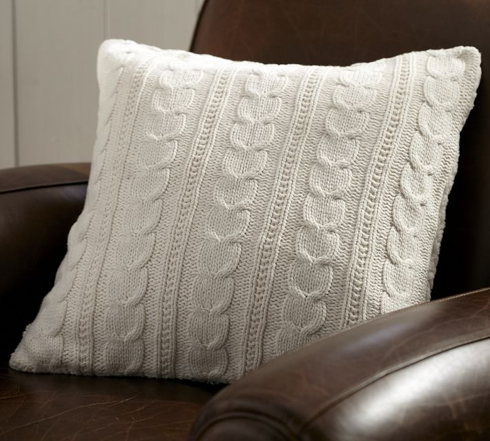 Pottery Barn Cozy Cable-Knit Pillow Sale - Setting for Four