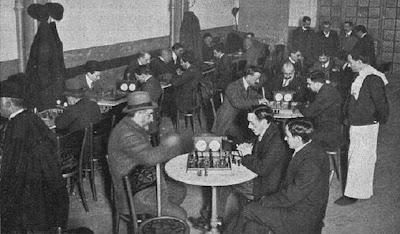 Sala de juego (Sala Imperio) del I Campeonato de Barcelona 1909/1910