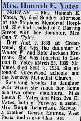 Obituary of Hannah Emeline Emmons Daughter of Water and Kate Emmons
