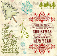 Polkadoodles Christmas Sentiment Flourish clear stamp set